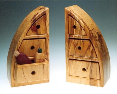 Matching pair of Wooden Draws cut from a solid piece of wood