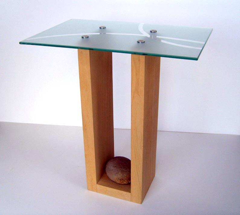 Glass Wooden Side Tables: Handmade, Unique, Designer Wood & Glass Side Table