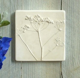 Small Cow Parsely plaster cast tile