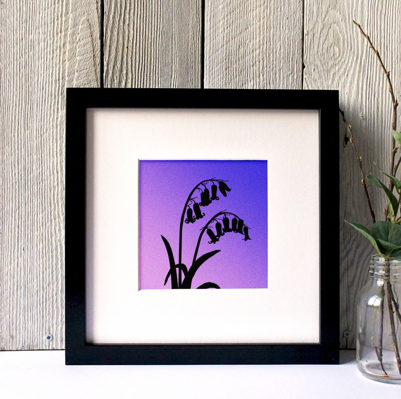 Bluebells silhouette print against toned coloured background