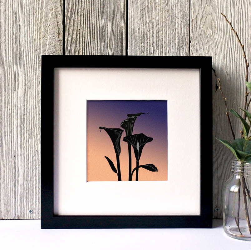 Cara Lillies silhouette print against toned coloured background