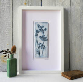 Blue Cow Parsley No.1 plaster cast in White frame