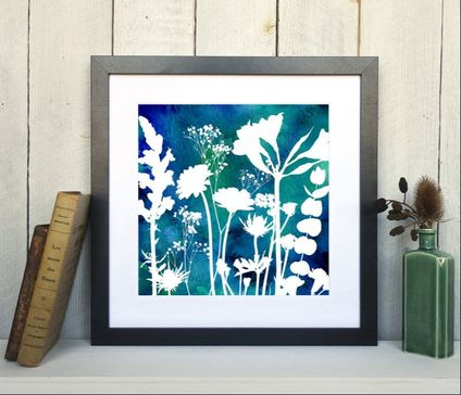 Watercolour Flower Mix No.1 framed print by Fiona Gray Designs