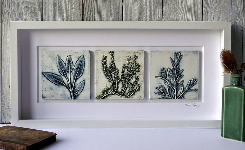 Fiona Gray, Framed Coloured Sage Rosemary & Thyme plaster cast plaques