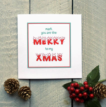 Personalised merry xmas card