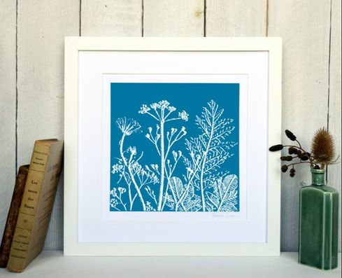 Fiona Gray - Summer Meadow No. 1 Print. Cyan in a White frame