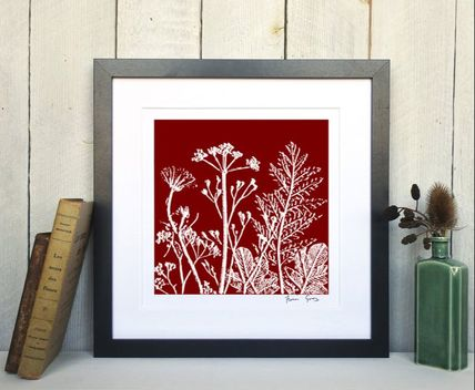 Fiona Gray Summer Meadow No.1 Rust Red print in Black frame