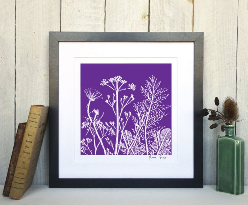 Fiona Gray, Summer Meadow Violet print in Black Frame