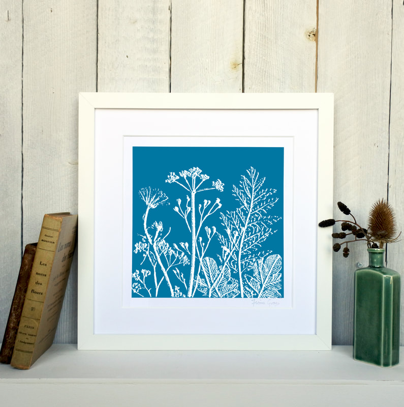 Fiona Gray, Summer Meadow Cyan print in White Frame