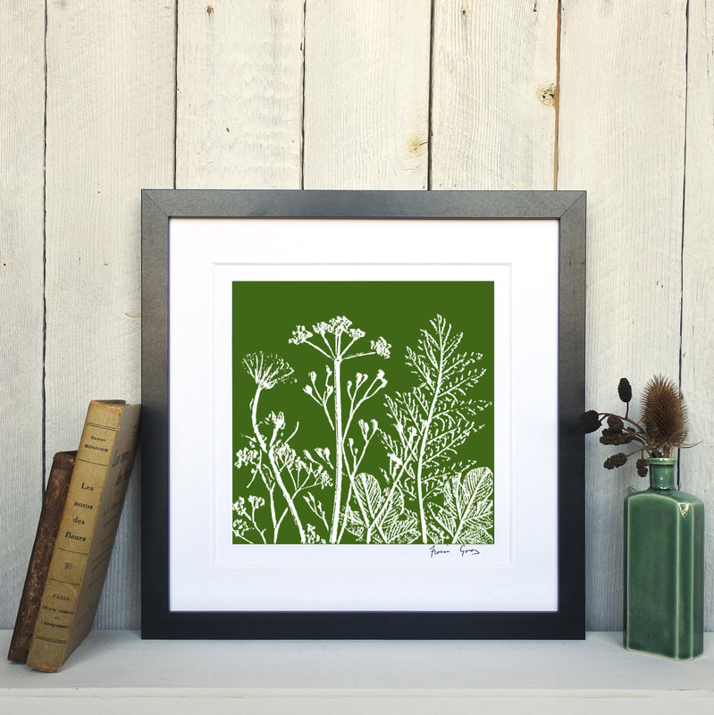 Fiona Gray, Summer Meadow Olive Green print in Black Frame