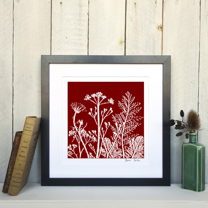 Fiona Gray, Summer Meadow Rust Red  print in Black frame