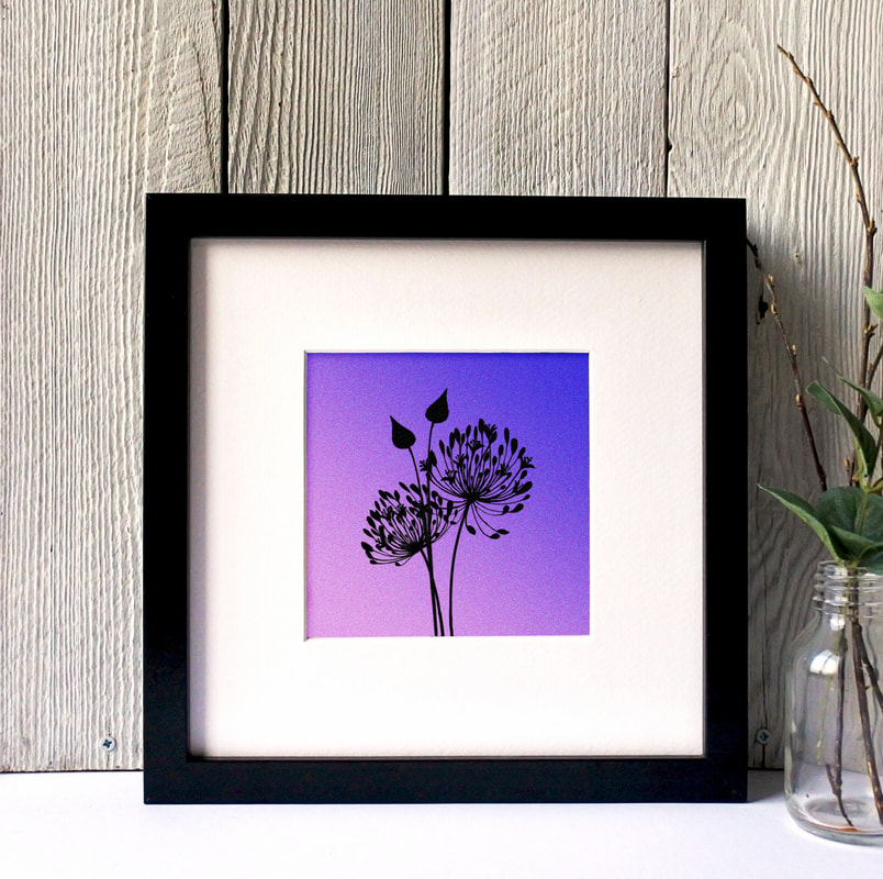 Agapanthus silhouette print against toned coloured background