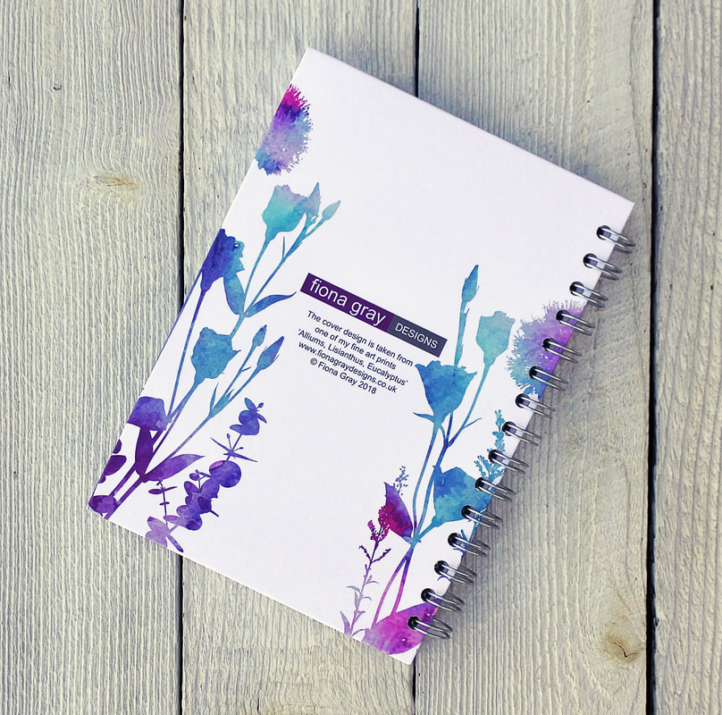 spiral bound notebook with Alliums & Lisianthus print on the front by Fiona Gray