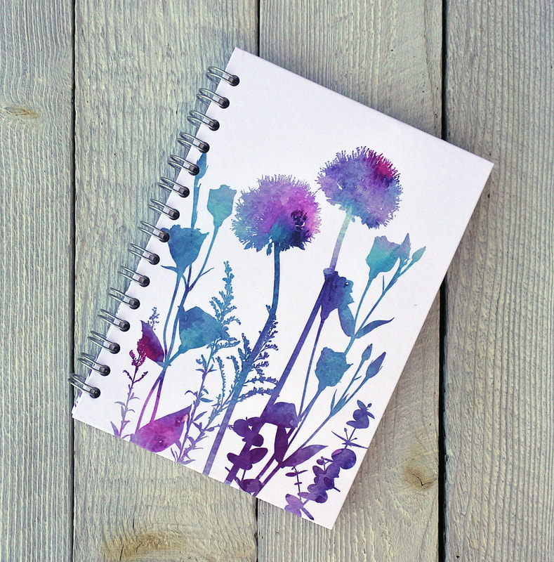 spiral bound journal with Alliums & Lisianthus print on the front by Fiona Gray