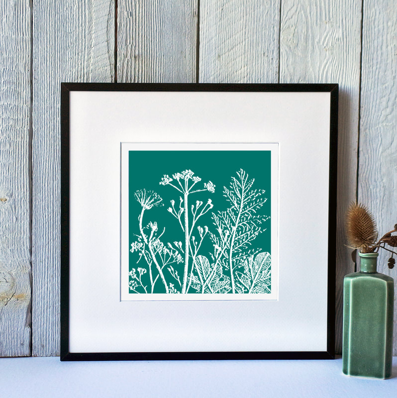Fiona Gray, Summer Meadow Teal print in Black Frame