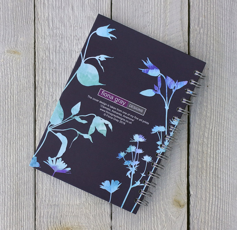 Clematis design spiral bound sketchbook by Fiona Gray