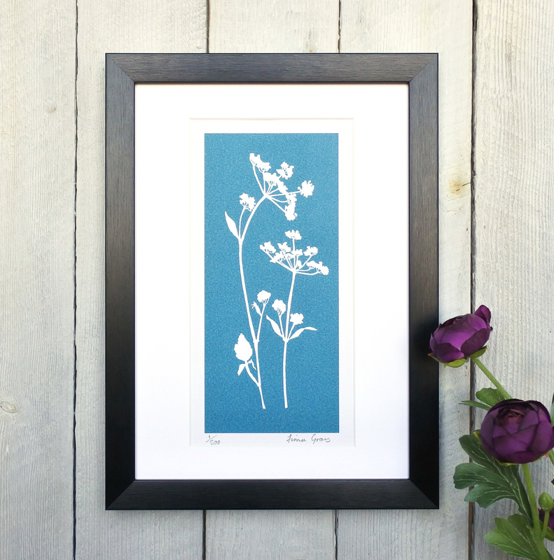 Cow Parsley No.1 Turquoise print in black frame