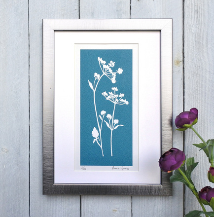 Turquoise Cow Parsley No.1 print Pewter effect frame