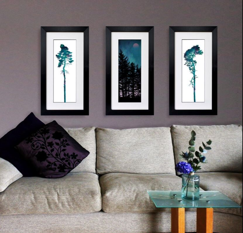 3 Tree prints by Fiona Gray shown in a home environment