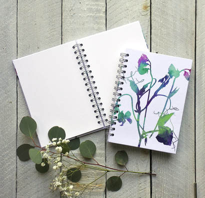Sweet Peas design hardback notebook by Fiona Gray