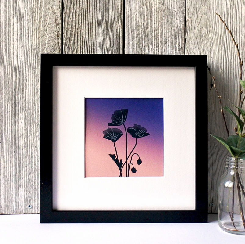 Poppies silhouette print against toned coloured background