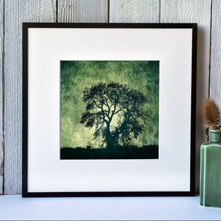 Stormy Tree at Heddon on the Wall. Print by Fiona Gray, tree silhouette against a stormy abstract background
