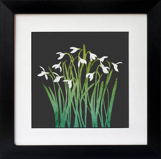 Snowdrops print on a Grey background. By Fiona Gray