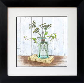 Fennel & Sweet Peas displayed in a glass bottle,  watercolour effect illustration