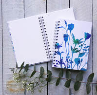 Fiona Gray notebook design 'Lisianthus, Sea Holly, Gypsophilia'