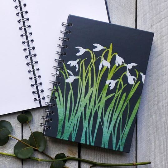 Spiral bound notebook, journal, sketchbook with Snowdrops on the cover by Fiona Gray