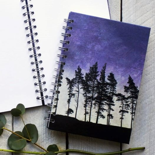 Spiral bound notebook, journal, sketchbook with Northumberland Tree Ridge on the cover by Fiona Gray
