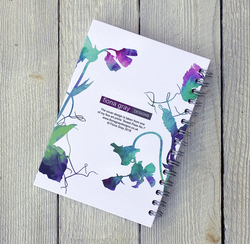 Sweet Peas design spiral bound notebook by Fiona Gray