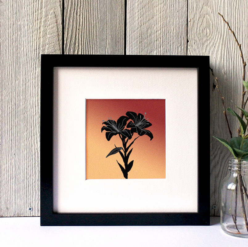 Tiger Lillies silhouette print against toned coloured background