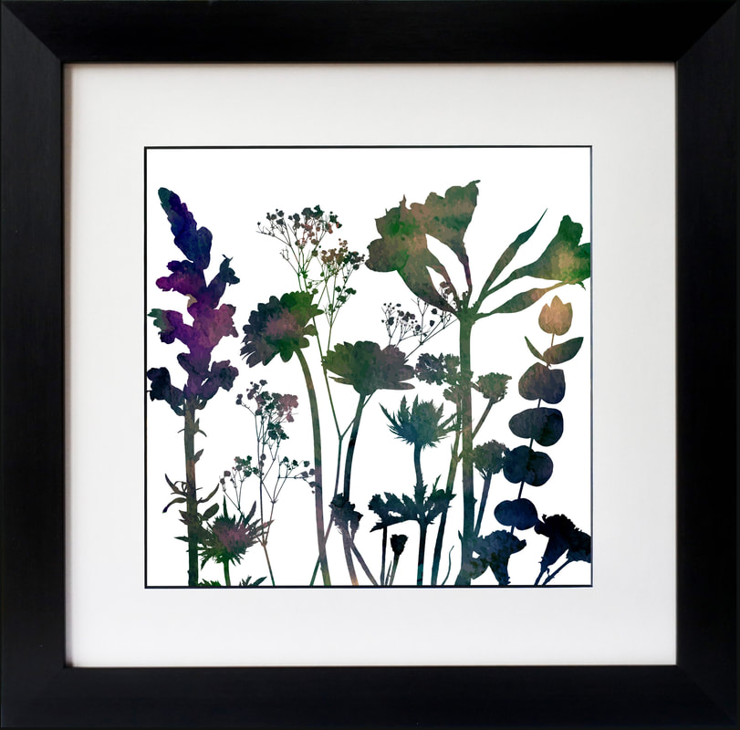Gerbera Sea Holly Eucalyptus Snapdragon Alstomeria flower print by Fiona Gray
